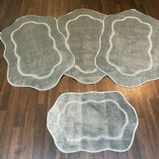 ROMANY GYPSY WASHABLES  SET OF 4 MATS/RUGS 75X125CM SIZE NON SLIP SILVER-GREY